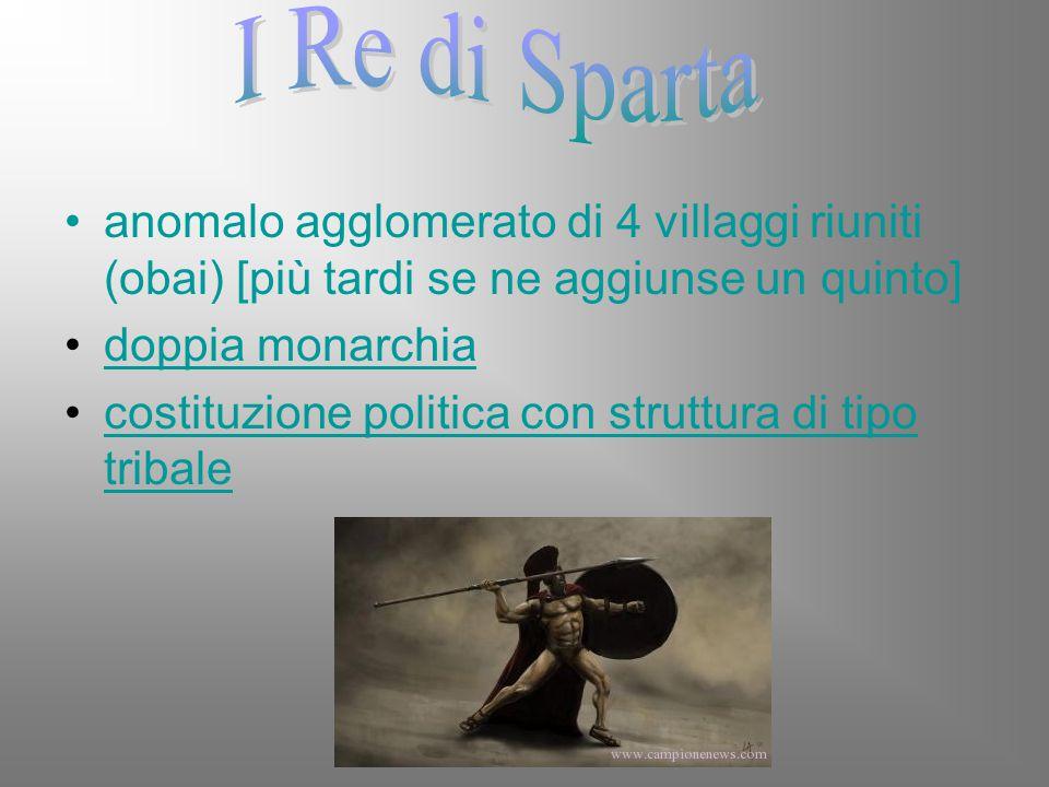 I Re di Sparta anomalo agglomerato di 4 villaggi riuniti (obai) [più tardi se ne aggiunse un quinto]